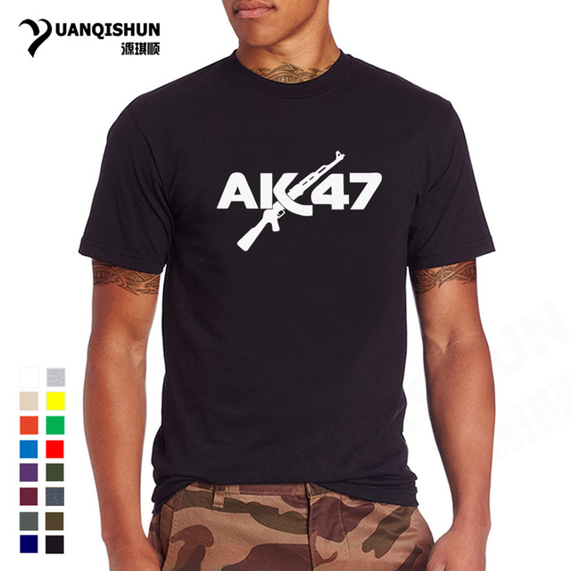 07731993 Fashion 16 Colors O Neck Cotton T-shirt AK47 Gun Print Men's T Shirt Men  Short Sleeve Tops Tees Camisetas Hombre Free Shipping