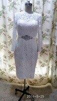 New Elegant White Ivory Lace Long Sleeve Tea Length Wedding Dresses 2016 Sheath Lace Up Back