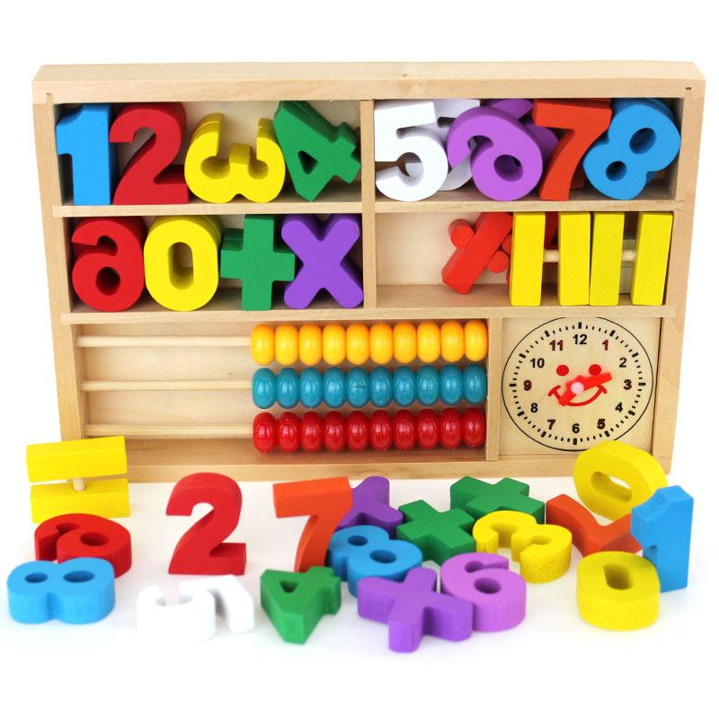 Montessori haridusliku beebi puidust mänguasi Digitaalse õppe mängu kasti puit mänguasjad
