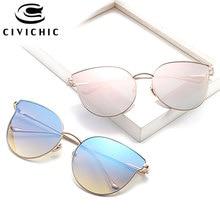 CIVICHIC New Fashion Women Cat Eye Sunglasses 2017 Female Gradient Color Mix Oculos De Sol UV400 Street Snap Gafas HD Specs E356