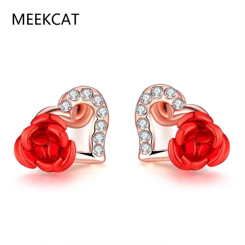 Charms Hoop Earrings Love Heart Rhinestone Cubic Zirconia Earrings Rromantic Girl Rose Gold Plated