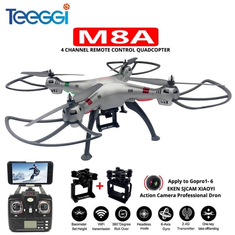 Teeggi M8A FPV RC Drone With Gimbal For Gopro5/6 EKEN SJCAM XIAOYI HD Camera Headless Mode Quadcopter VS SYMA X8 Pro X8C DRON f04305 sim900 gprs gsm development board kit quad band module for diy rc quadcopter drone fpv