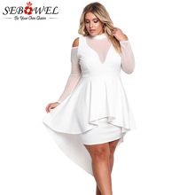 SEBOWEL Plus Size Sexy White Mesh Bodycon Dress Women Elegant Black Flare Sleeve Party XXXL Big Mini 2019