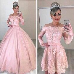 Уникальные свадебные платья из тюля с открытыми плечами 2 в 1 с длинными рукавами и бантом и съемной юбкой розовое свадебное платье