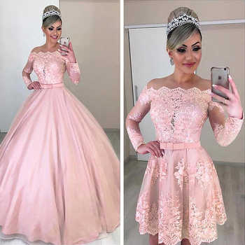 Unique Tulle Off-the-shoulder Neckline 2 In 1 Wedding Dresses Long Sleeves & Bowknot & Detachable Skirt Pink Bridal Dress - DISCOUNT ITEM  0% OFF All Category