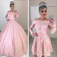 Unique Tulle Off the shoulder Neckline 2 In 1 Wedding Dresses Long Sleeves & Bowknot & Detachable Skirt Pink Bridal Dress