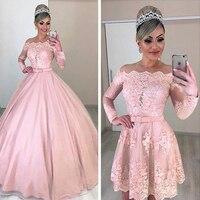 Unique Tulle Off the shoulder Neckline 2 In 1 Wedding Dresses Long Sleeves & Bowknot & Detachable Skirt Pink Bridal Dress