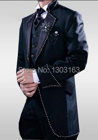 2016 Fashion Men Suits Black/White Classic Men's Suits Groom Tuxedos Free Shipping