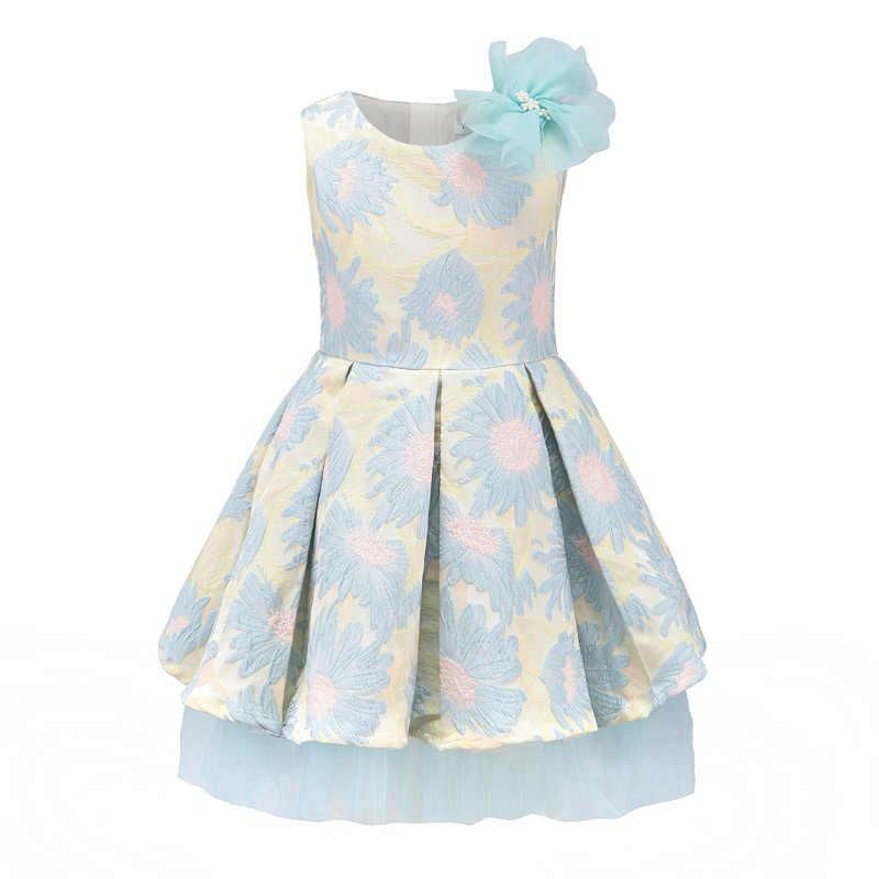 2f7a065e9f5 Childdkivy 2018 г. весеннее платье принцессы с цветочным узором для девочек