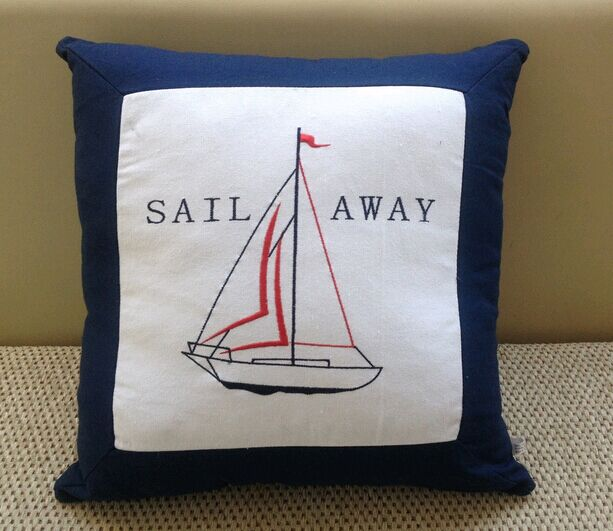 New arrival series of embroidery sailing boat cushion pillow cotton canvas cushion ocean pillow
