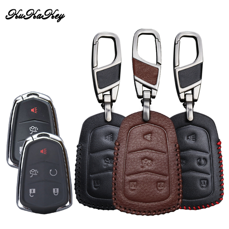 Leather Car Key Case Cover For Cadillac CTS ATS 28T CTS V Coupe SRX Escalade ESV Smart Remote Car Protection Shell Accessories in Key Case for Car from Automobiles Motorcycles