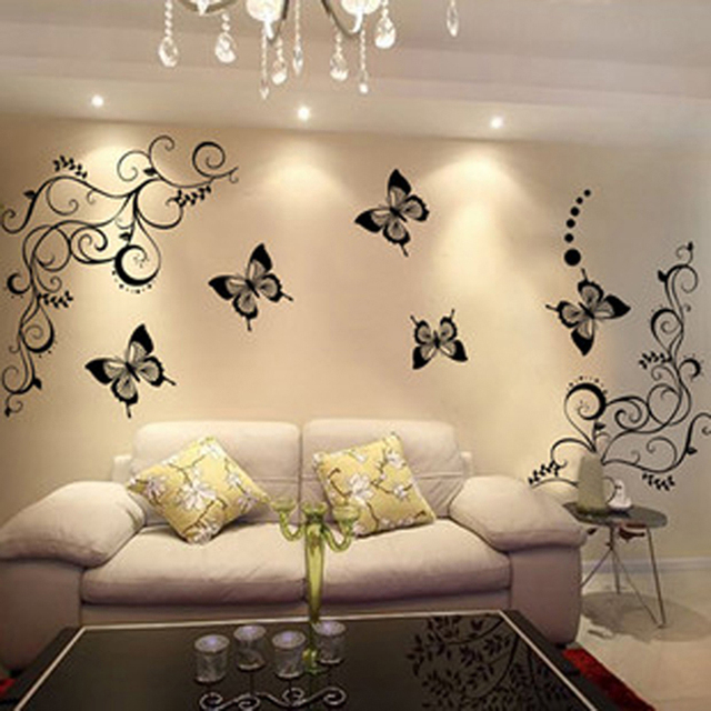 Butterfly and Flowers Wall Sticker