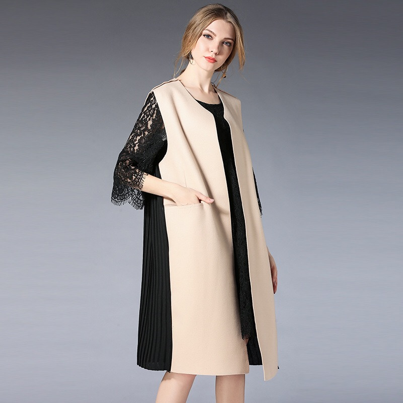 2018 Elegant Maternity Coats Autumn Winter Coats Casual Pregnancy Clothes Wool Pockets Plus Size Long Sleeveless