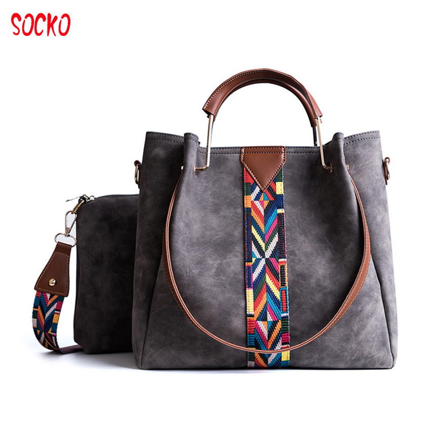 2018 Free Shipping Women Bags Winter Simple Hand Bags Two Piece Fabric Bag Casual Ladies Quality Big Handbags D50