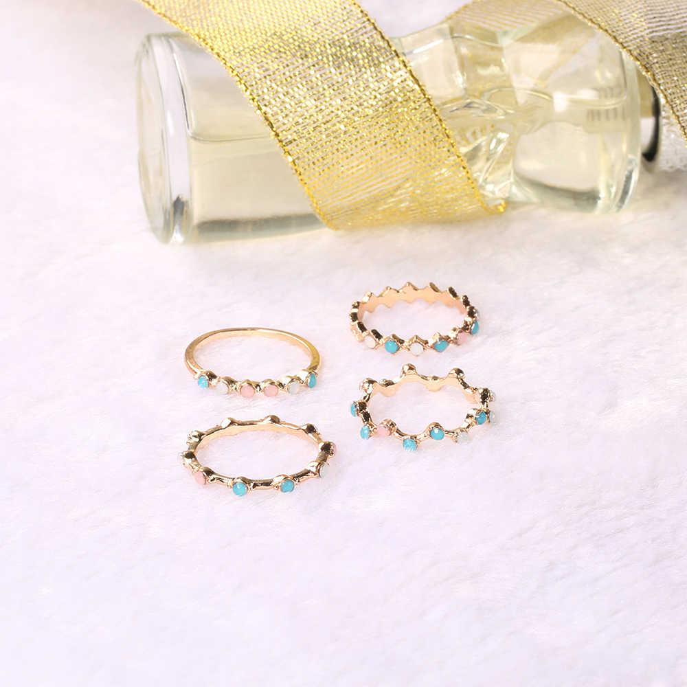 4 יח'\סט אופנה קטן גל צבעוני עגול פשוט גיאומטריה קריסטל זהב מעודן טבעת סט נשים קסם תכשיטי מתנות לנשים