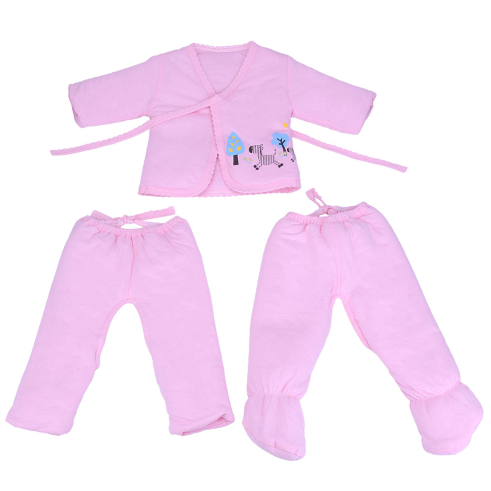 Newborn Baby Boy Girl warm Clothes set 100%Cotton Cartoon winter Underwear Belt Tops Pants Foot Tight 3pcs baby set Gift