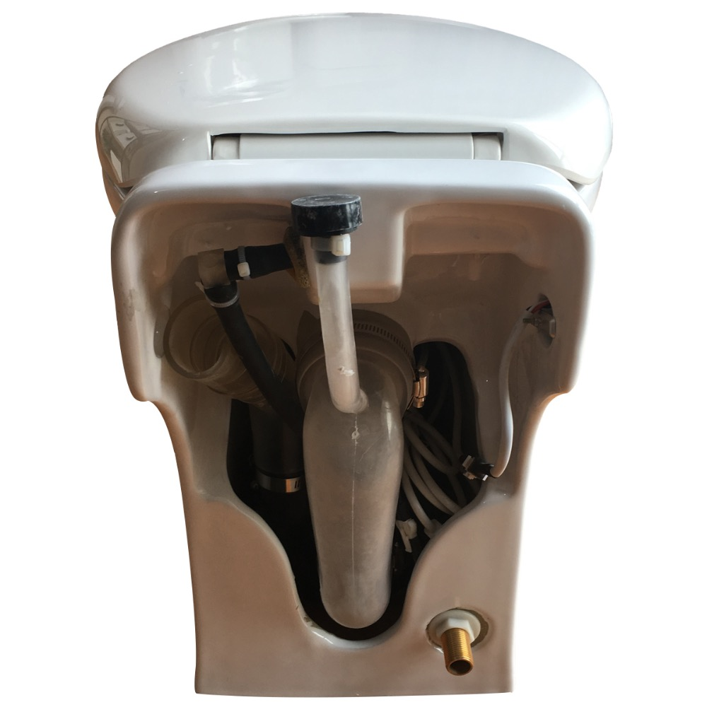 One piece Toilet with Macerator Built Into the Base, White