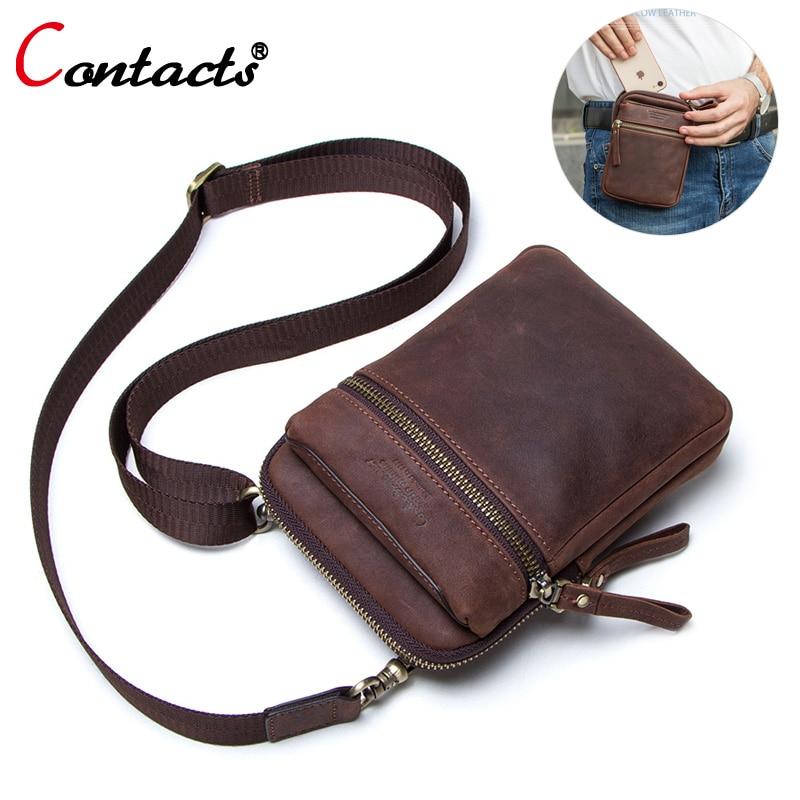 Contact's genuine leather waist bag men waist pack Multifunction fanny pack men belt bag bum male crossbody shoulder bag small