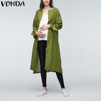 VONDA Pregnant Women Coat 2018 Casual Long Sleeve Cotton Cardigans Maternity Clotheing Outerwear Plus Size Long