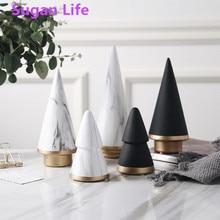 Sugan Life нордическая Геометрическая черная белая Рождественская елка, минимализм, керамическое украшение для дома, гостиной, ремесло, украшен...