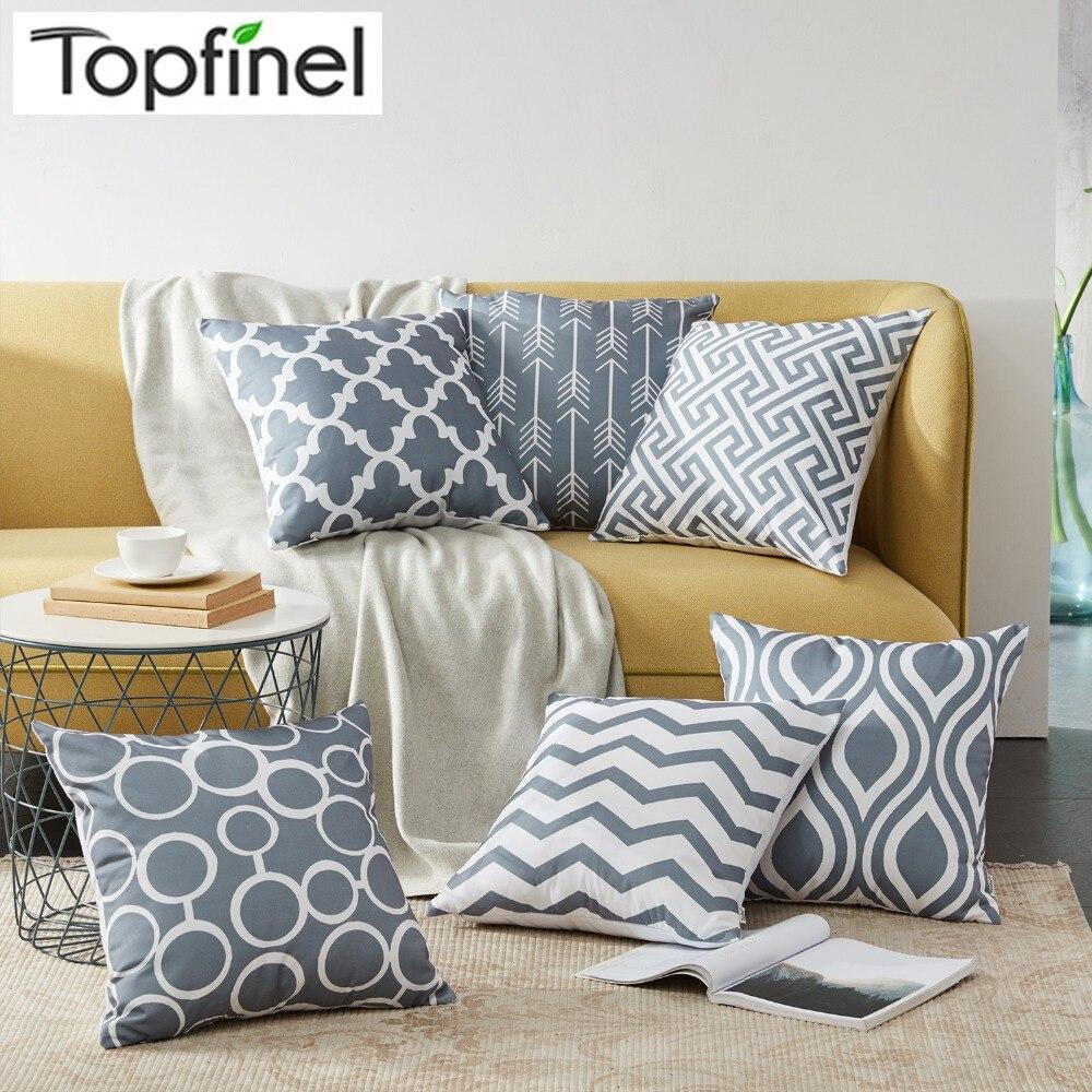 Topfinel decorativo barato coxim cobre geométrico algodão linho lance travesseiros casos para casa sofá cama cinza cor 45x45cm