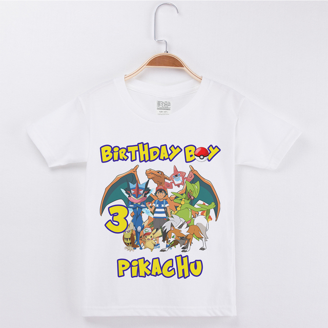329b8284 Birthday T Shirt Design For Kids Cute Pretty Cartoon Pokemon Print Cotton  Children Clothing Girl tops Fashion 2019 Boys Clothes