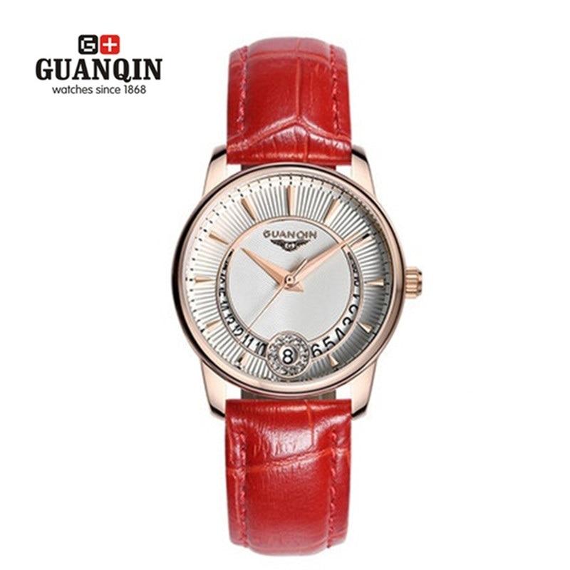 ФОТО GUANQIN Woman Diamond Watch Quartz Luxury Famous Brand Rhinestone Watch Waterproof Leather Watch Sport Female Sale Wrist Watches