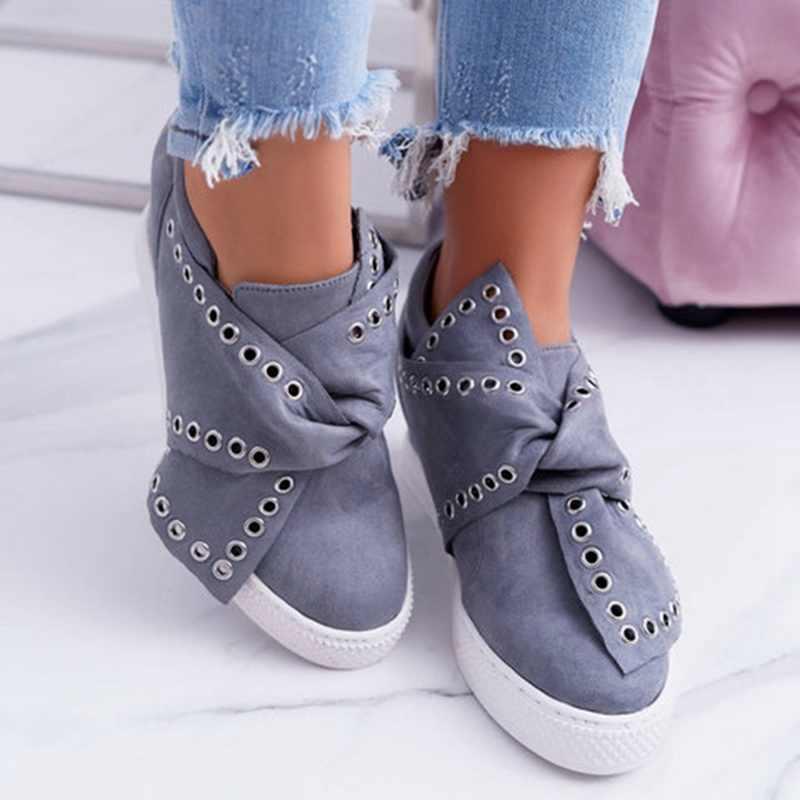MoneRffi 2019 été femmes baskets dames daim nœud papillon sans lacet confort vulcanisé chaussures femme augmentation dans chaussures plates