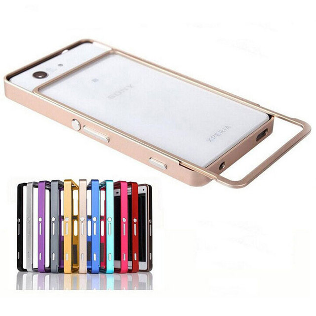 Z3 Mini Fundas Ultra Thin Push Pull Metal Aluminum Bumper Frame Case For Sony Xperia Z3 Compact D5803 D5833 Phone Cover 4.6 inch