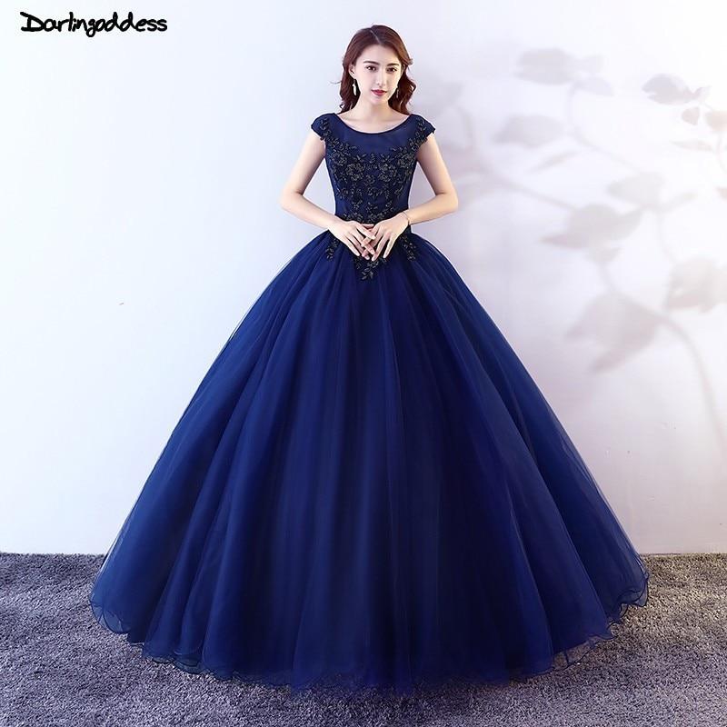Robe de bal bleu marine pas cher princesse Quinceanera robes 2019 dentelle longue robe de bal douce 16 robe grande taille vestidos de 15 anos