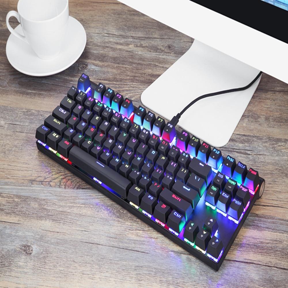 Image 5 - Original Motospeed CK101 Wired Mechanical Keyboard Metal 87 Keys  RGB Blue Red Switch Gaming LED Backlit Anti Ghosting for  GamerKeyboards