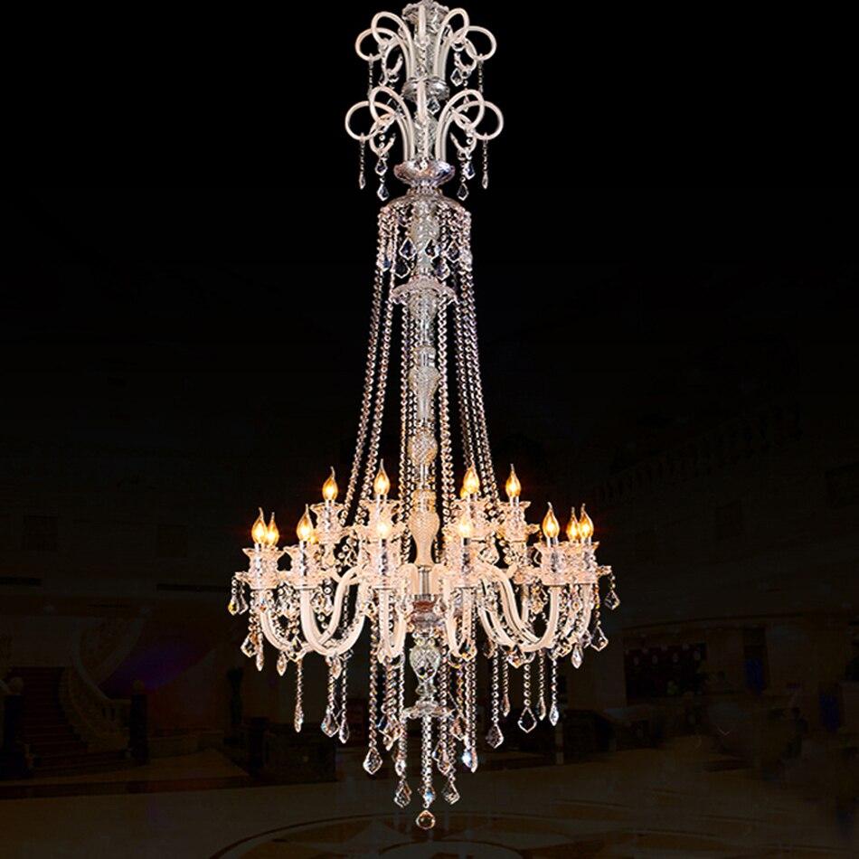Grande Lustre De Cristal Moderna Para Teto Alto Extra Grande  -> Lustres Para Sala De Teto Alto