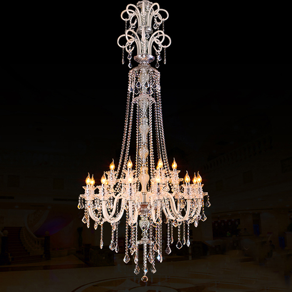 Large Modern Crystal Chandelier For High Ceiling Extra Living Room Led Luxury Chandeliers Villa Hall