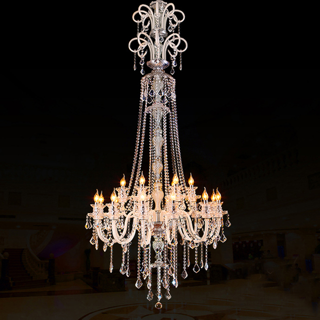Large Modern Crystal Chandelier For High Ceiling Extra Living Room Led Luxury Chandeliers