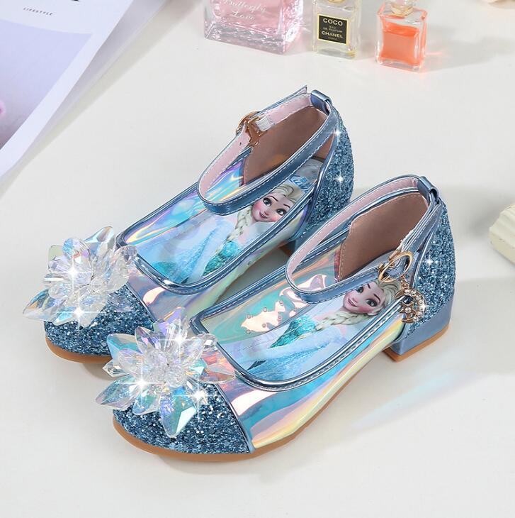 Fashion Shoes For Girls Princess High-heelde Leather Shoes Glitter Crystals Knot Kids Party Shoes Elsa Sneaker Children Gift
