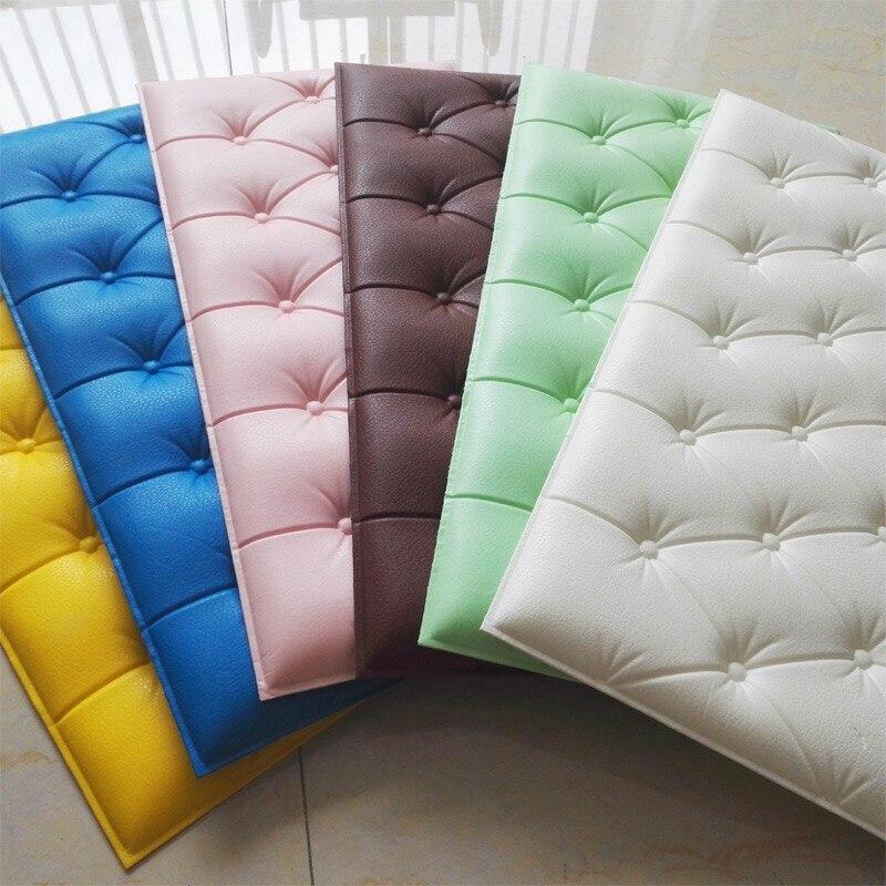 10 Uds 3D adhesivo de espuma para pared DIY suave bolsa azulejos paneles de pared decoración del hogar cuero autoadhesivo papel tapiz KTV niños fondo de sala