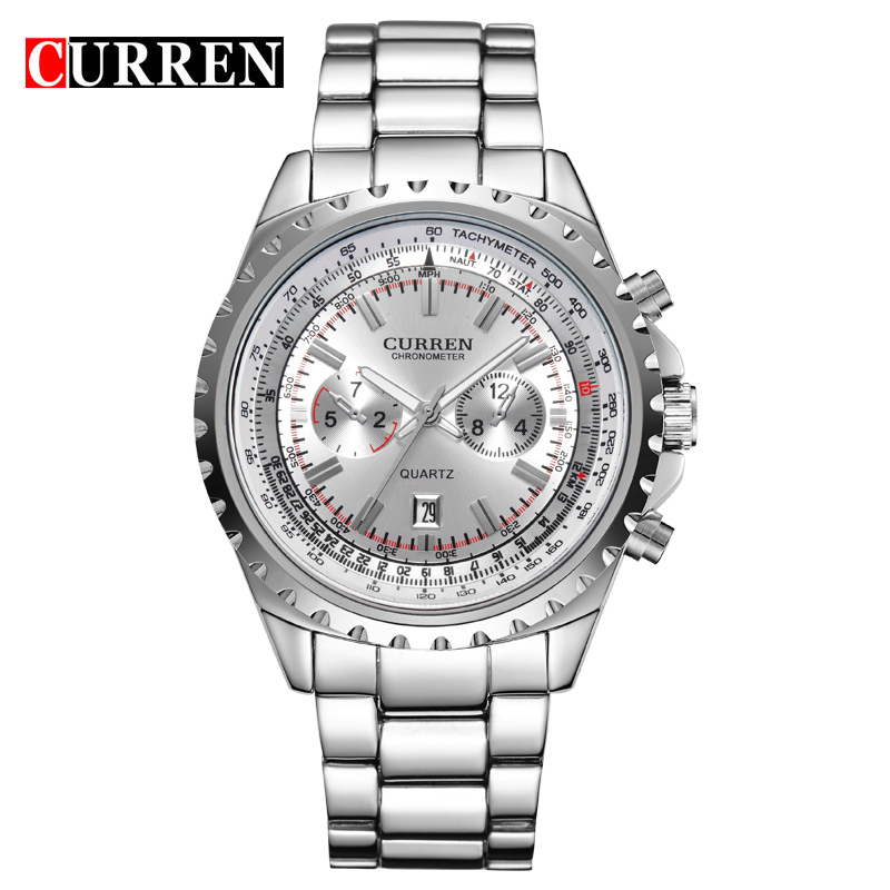 Curren brand male full steel wrist watch relogio masculino watches business and casual quartz for Curren watches