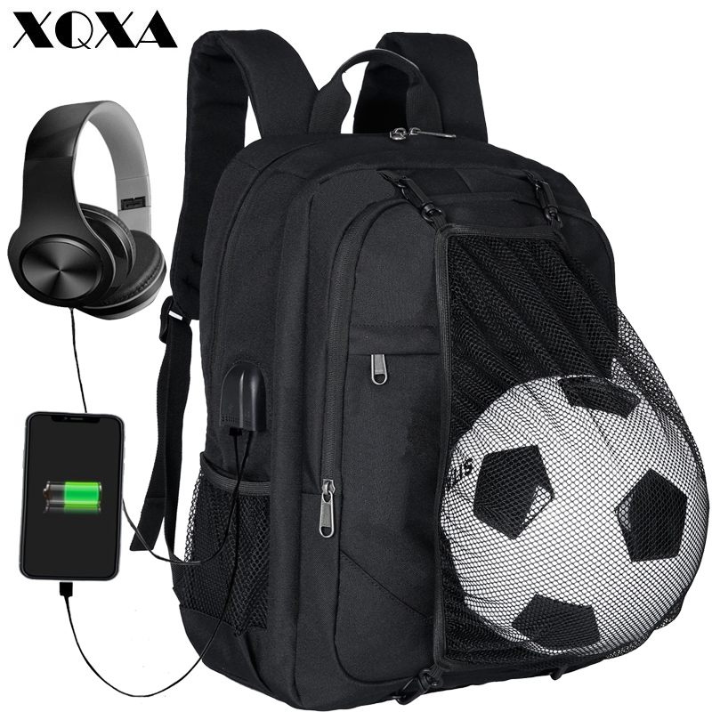 Xqxa  Laptop Backpack Men With Ball Net School Backpack Bag Black Rucksack For Boys Usb Charging Port Casual Travel Bagpack
