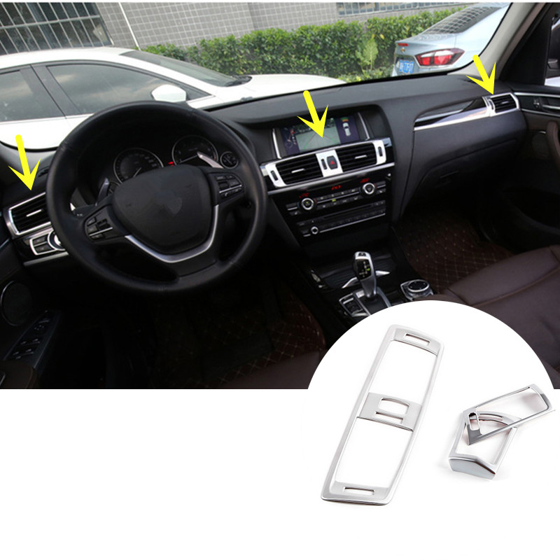 ФОТО For BMW X4 F26 Inner Centre & Side AC Air Vent Outlet Cover Trim 2014 2015 3pcs
