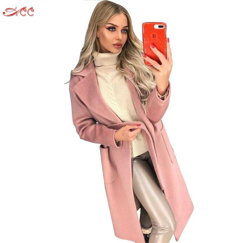 2018 Woolen Mantel Frauen Herbst Winter Pendler Mantel Mode Revers Langen ärmeln Mit Einfarbig Plüsch Windjacke Damen Mantel
