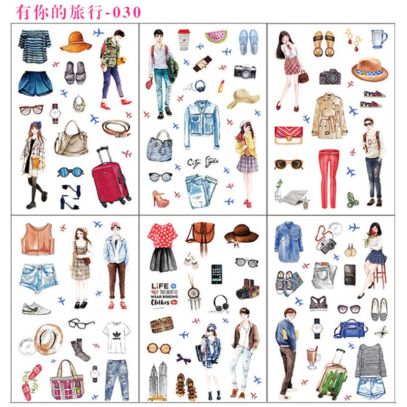 6 Sheets/pack Travel With You Decorative Stationery Stickers Scrapbooking Diy Diary Album Stick Label