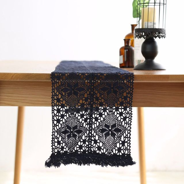Coffee Table Runner.Us 16 05 New Table Runner Cotton Runners Lace Rectangle Dark Blue Dinner Coffee Tables Flag Home Decorative Covers Wedding Decoration In Table