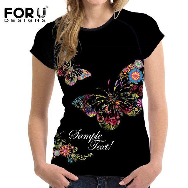 FORUDESIGNS/тренд, Бабочка, 3D принт, летняя женская футболка, повседневные футболки с коротким рукавом для дам, женская модная футболка с круглым ...