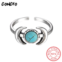 2018 Turquoise Classic Party Anel Feminino Concho Jewelry 925 Sterling Silver Geometric Shape Rings For Women