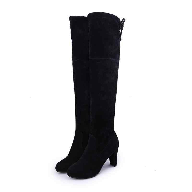 Yeni seksi kadın çizmeler Faux süet ince kadın kışlık botlar diz çizmeler üzerinde kış uyluk yüksek çizmeler diz yüksek çizmeler artı boyutu