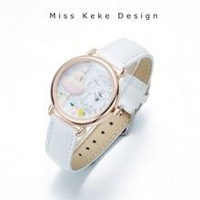 2018 Primavera recién llegado de arcilla Lindo reloj encantador de la muchacha rosada Regalo hecho a mano de la flor de mariposa Regalo original de diseño de señora Fine