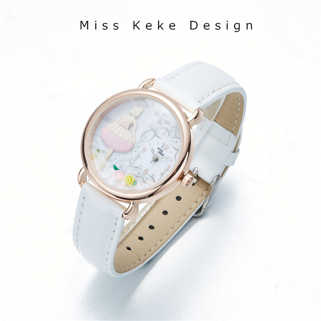 Spring New Arrival Clay Cute Lovely Pink Girl Watch Butterfly Flower Handmade Gi