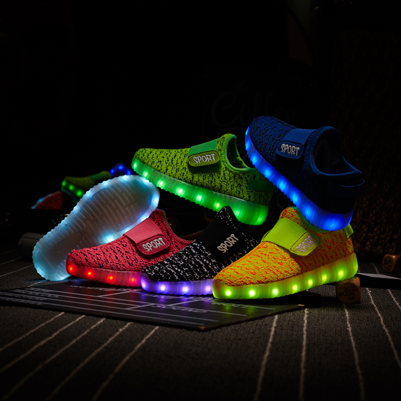 Size 25-37  Kids Led USB Recharge Glowing Shoes Children's Hook Loop Shoes Children's Glowing Sneakers Kids Led Iuminous Shoes