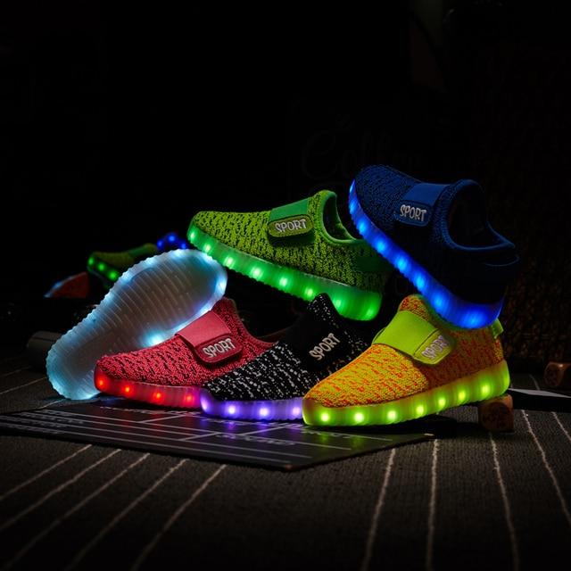 Tamanho 25 37 crianças led usb recarga brilhante sapatos crianças gancho loop sapatos das crianças brilhantes tênis crianças led iuminous sapatos