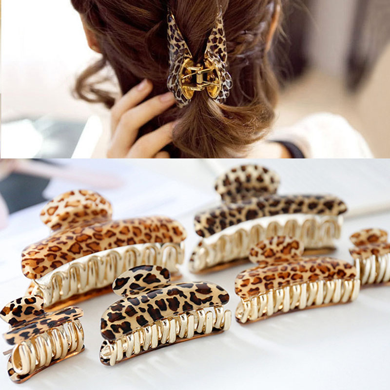 LNRRABC 2018 new Sale Women Acrylic Fashion Leopard Hair Clip Claws Accessories 4 Sizes